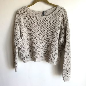 Moon & Madison Cream Crocheted Cropped Sweater